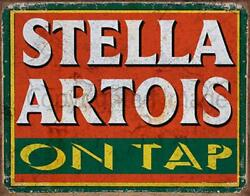 Stella Artois Lager Beer On Tap Pub Bar Metal Tin Sign Poster Wall Plaque