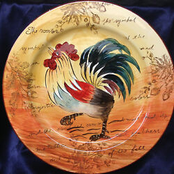 Maxcera Corp Strolling Rooster Round Platter 14 1/4 Rooster Words Acorns