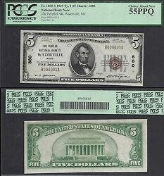 5 1929 Ty I Nbn=waterville Me=ch.880 B000001=sn 1=pcgs Ch. About New 55 Ppq