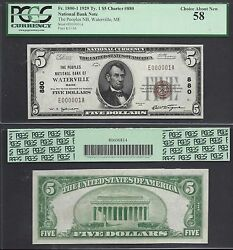 5 1929 Ty I Nbn=waterville Me=ch.880 E000001=sn 1=pcgs Ch. About New 58