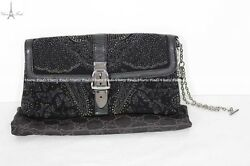 Authentic Gucci Limited Edition Black Lizard Beaded Evening Clutch Bag