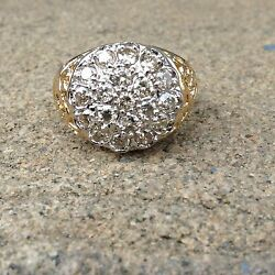 Vintage 14k Yellow Gold Diamond Cluster Ring Size 11.5