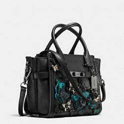 New COACH Swagger 21 Carryall Butterfly Appliqué Glovetanned Leather 37912 bag