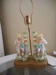 Antique German Bisque Double Putti And Parrot Candle Sticks / Lamp