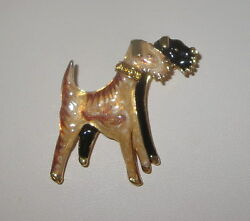 Airedale Terrier Dogs Pin Gold Tone Brown Black Crystal Accents New Terriers