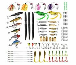 Bass Fishing Gear Freshwater Saltwater Lures Baits Tackle Crankbaits Spinner Kit