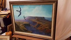 Vintage Expansive Grand Canyon Painting Stunning Signed Dated Framed Beautiful
