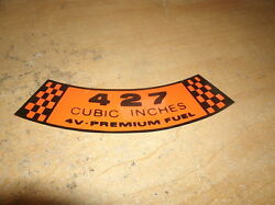 1967 1968 Ford Galaxie Fairlane Shelby 427 4v Premium Fuel Air Cleaner Decal