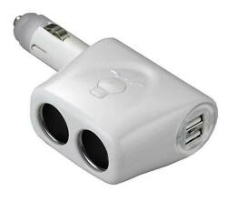Two Usb Charger Ports W/twin 12v Lighter Socket White Victory Aa01339w