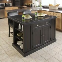 Homestyles Nantucket Wood Kitchen Island And Two Stools In Distressed Black
