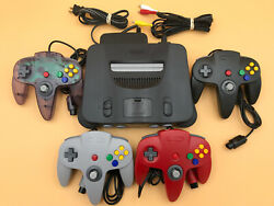 N64 Nintendo 64 Console + Up To 4 New Controllers + Cords + Cleaned Inside And Out