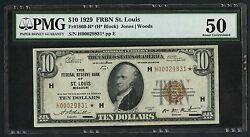 Fr1860-h 10 1929 Frbn St. Louis Pmg 50 About Unc Ext Rare High Grade Wlm3267