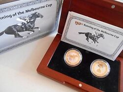🐎2010 150th Running Of The Melbourne Cup Gold Plated Silver Proof 2 Coin Set🐎