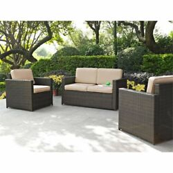 Crosley Palm Harbor 3 Piece Wicker Patio Sofa Set In Brown And Sand