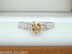 Platinum 0.71 Carat Champagne And White Diamond Engagement Ring Vintage Style