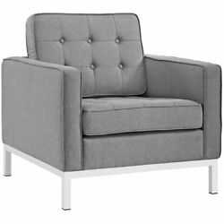 Modway Loft Fabric Tufted Accent Chair in Light Gray