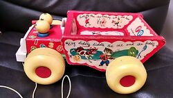 Vintage Fisher Price Humpty Dump Truck Nursery Rhyme Wooden Pull Toy, 1963, 145