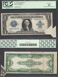 1 1923 Silver Certificate=fr. 237= Large Size Error=printed Fold=pcgs Vf 20