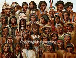 Old Print. The Different Native American Indian Tribes