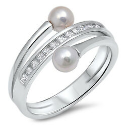 White Cz Freshwater Pearl Fashion Ring New .925 Sterling Silver Band Sizes 5-10