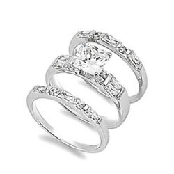Sterling Silver Princess Cut Cz Engagement Ring Wedding Band 3 Ring Sizes 5-10
