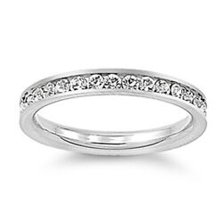 Womanand039s White Cz Ring Eternity Polished Stainless Steel Band New 3mm Sizes 3-10