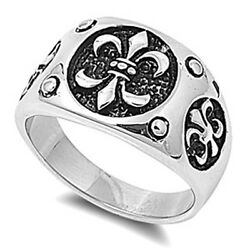 Fleur De Lis Ring Unique Polished Stainless Steel Band New Usa 16mm Sizes 8-15