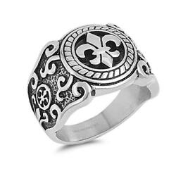 Heavy Fleur De Lis Ring Polished Stainless Steel Band New Usa 19mm Sizes 8-13