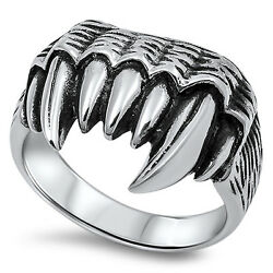 Fang Teeth Biker Large Ring New 316l Stainless Steel Jaws Razor Band Sizes 6-12