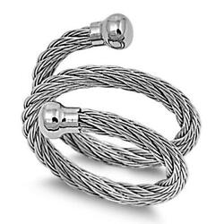Women's Open Rope Chain Fashion Ring New 316l Stainless Steel Band Sizes 7-14