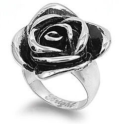 Heavy Rose Ring Fashion Polished Stainless Steel Band New Usa 28mm Sizes 5-10