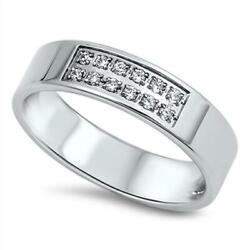 Men's Wedding Clear Cz Polished Ring New 316l Stainless Steel Band Sizes 7-13