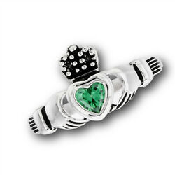 Claddagh Emerald Cz Heart Promise Ring New Stainless Steel Cute Band Sizes 5-10