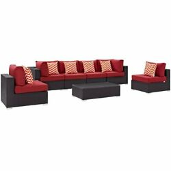 Modway Convene 7 Piece Patio Sectional Set In Espresso And Red