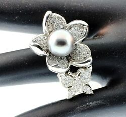 Butterfly Designer And Black Pearl And Diamonds 1.15ct Ring 14kw Gold Size 6.5