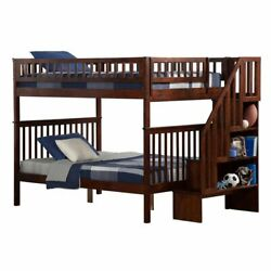 Atlantic Furniture Woodland Full Over Full Staircase Bunk Bed