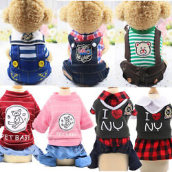 Cute Small Dog Summer Cotton Clothes Puppy Striped Jumpsuit Pet Cat Coat Costume $4.99