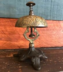 Solid Brass Ornate Hotel Working Desk Bell On Stand W Antique Patina Finish