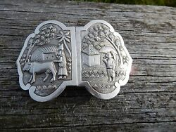Early Colonial Buckle Vgc Tantalisingly Unmarked White Metal 1920 - 40 S Era