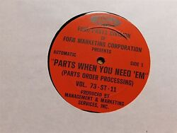1973 Ford Dealership Parts When You Need Em Order Processing Promo Record Album