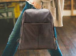 Unisex Brown Leather Designer Backpack - Laptop Bag with Removable Tassel