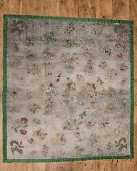 Rare antique 18th century embroidery tapestry silk 145cm x 145cm