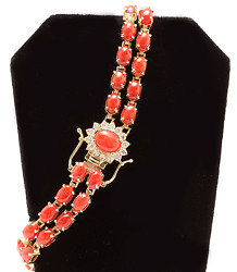20.40ct Natural Coral And Diamond 14k Solid Yellow Gold Bracelet