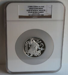 1989 China 3.3oz Zhao Gongming God Of Wealth Ngc Pf 69 Silver Coin