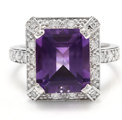 6.05 Carats Natural Amethyst And Diamond 14k Solid White Gold Ring