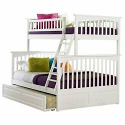 Atlantic Furniture Columbia Twin Over Full Trundle Bunk Bed In White