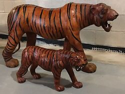 Vintage 1970s Massive Leather Tiger Sculpture And Cub Kids Playroom Toy Accessory
