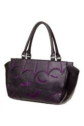 Lost Queen Bats Handbag Goth Punk Tattoo Black Bag Purse Night BBN797PURPLE $49.99