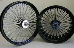 Dna Black Mammoth Fat 52 Spoke Wheels 21x2.15 And 18x3.5 Softail Touring Harley