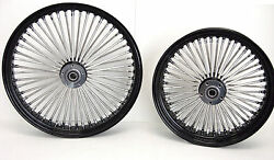 Black Mammoth 52 Fat Spoke Wheels 21x3.5 And 16x3.5 Harley Softail Touring Dyna